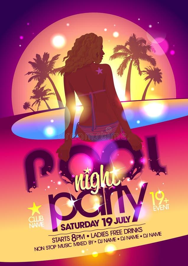 Cartel de la fiesta en la piscina de la noche ilustración del vector