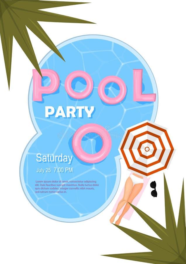 Cartel de la fiesta en la piscina Ilustración del vector Invitación de la fiesta en la piscina con agua, flotador rosado, parasol ilustración del vector