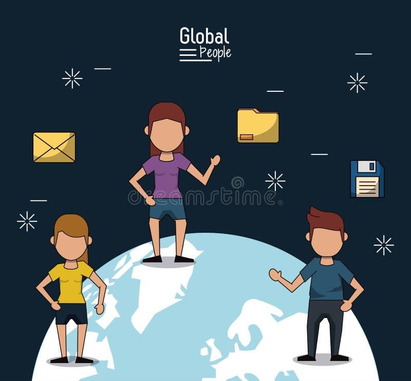 Cartel de la gente global con el fondo azul marino con la gente y la información sobre la tierra del planeta stock de ilustración