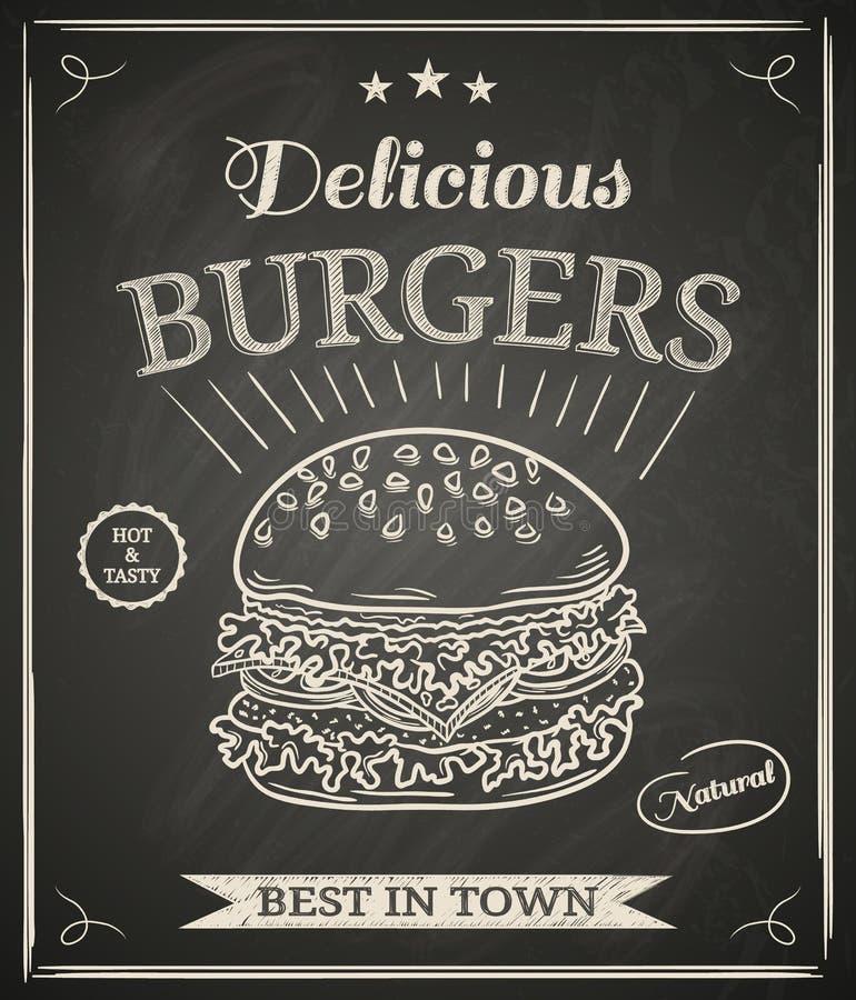 Cartel de la hamburguesa stock de ilustración