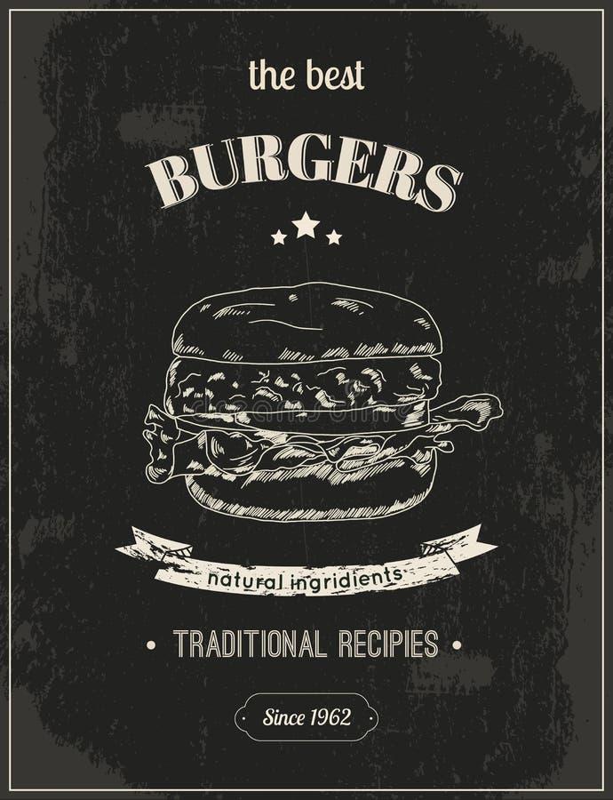 Cartel de la hamburguesa ilustración del vector