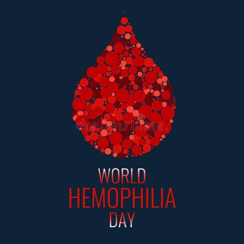 Cartel de la hemofilia con gota de sangre ilustración del vector