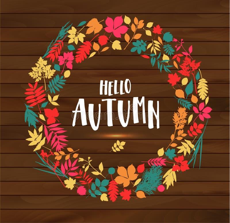 Cartel de la hoja del oto?o Hojas anaranjadas del arce, follaje de septiembre, colocado en marco con el otoño del texto para la e libre illustration