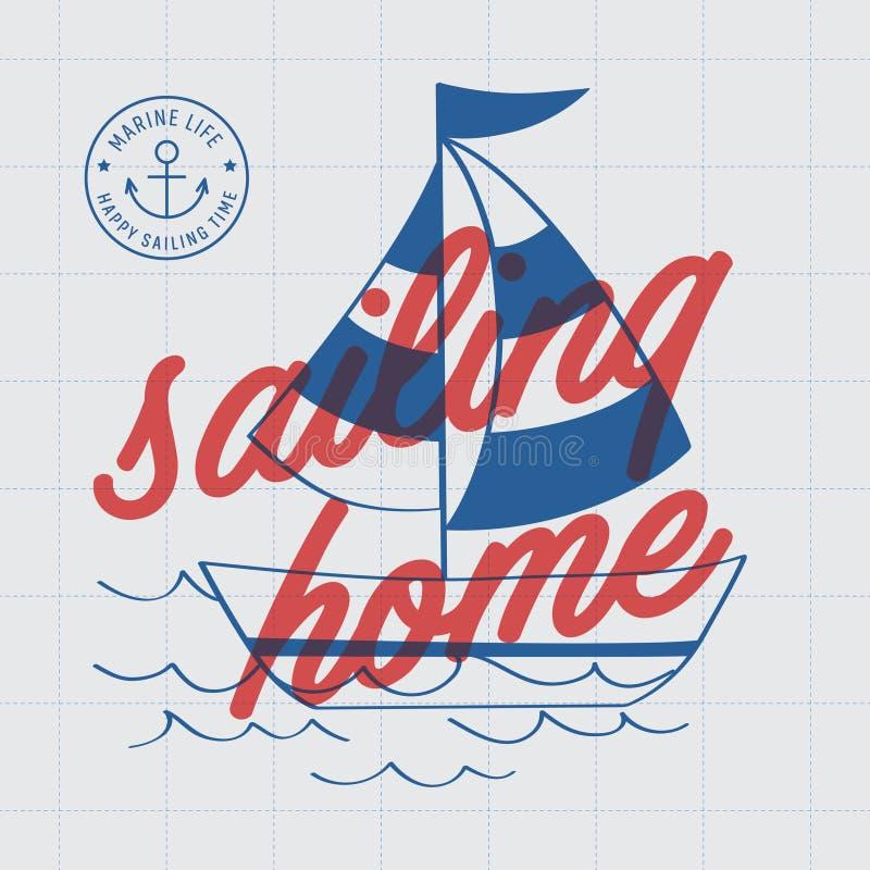 Cartel de la impresión del hogar de la navegación stock de ilustración