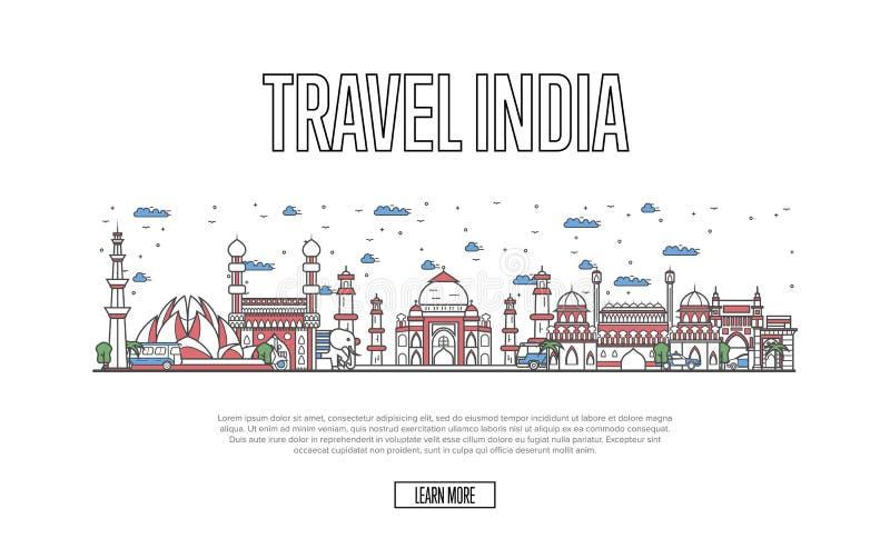 Cartel de la India del viaje en estilo linear libre illustration