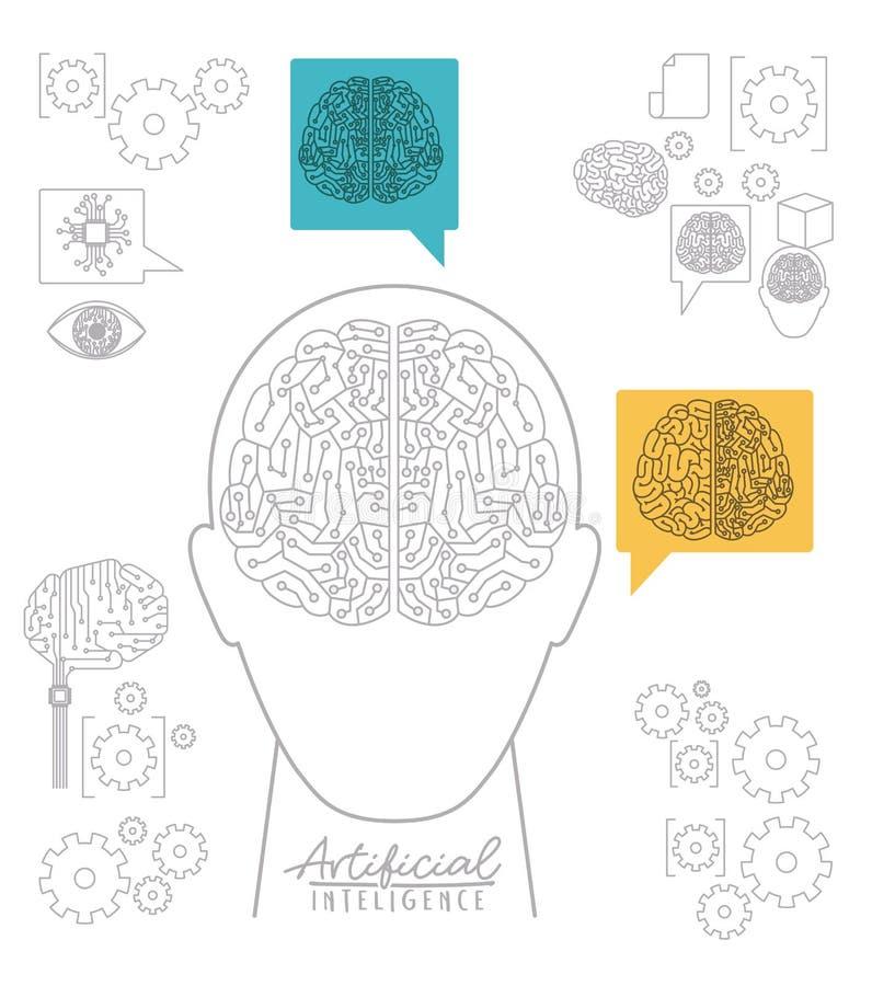 Cartel de la inteligencia artificial con vista delantera de la silueta de la cabeza humana con el circuito electrónico en la form stock de ilustración