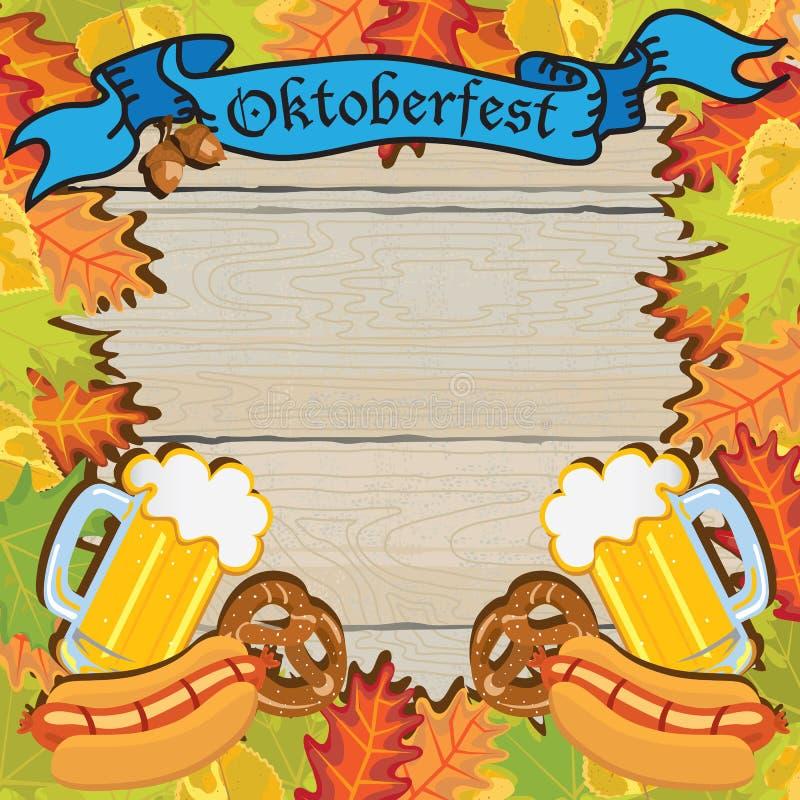 Cartel de la invitación del marco del partido de Oktoberfest ilustración del vector
