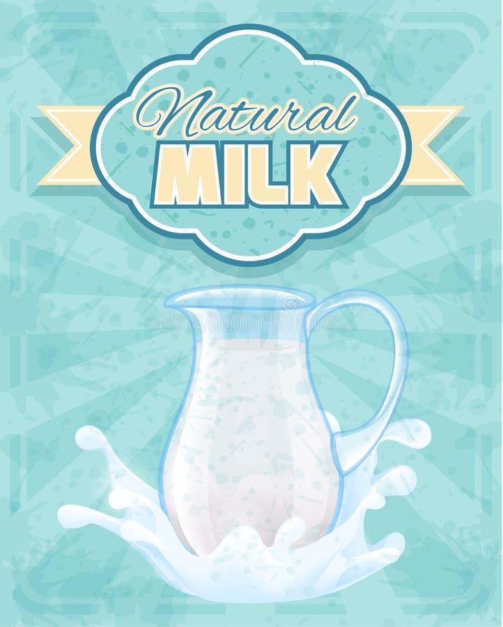 Cartel de la jarra de la leche ilustración del vector