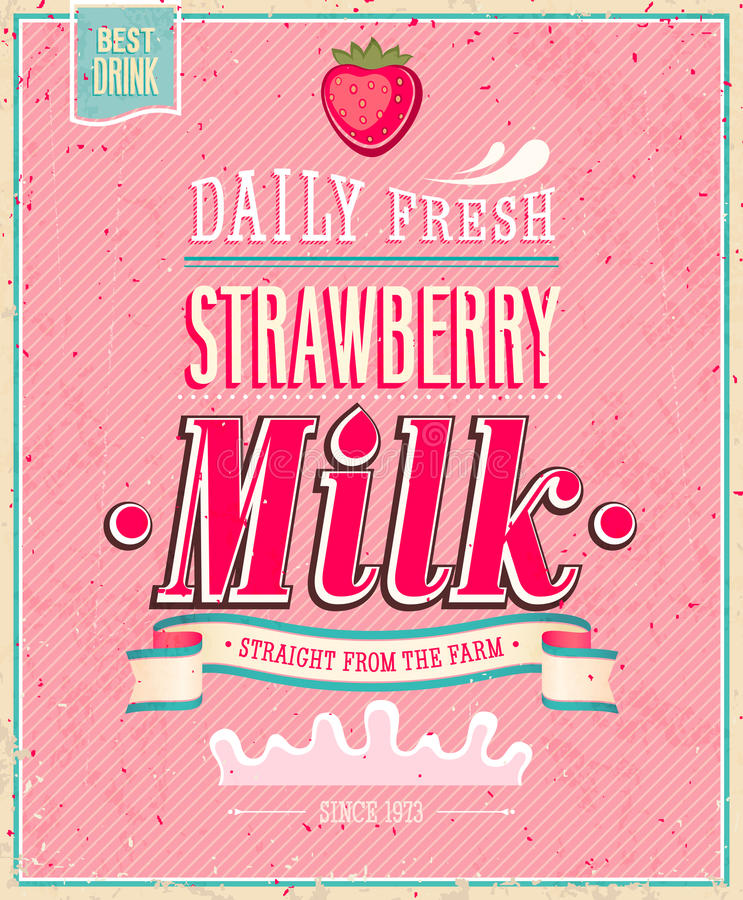 Cartel de la leche de la fresa del vintage. Illustratio del vector stock de ilustración