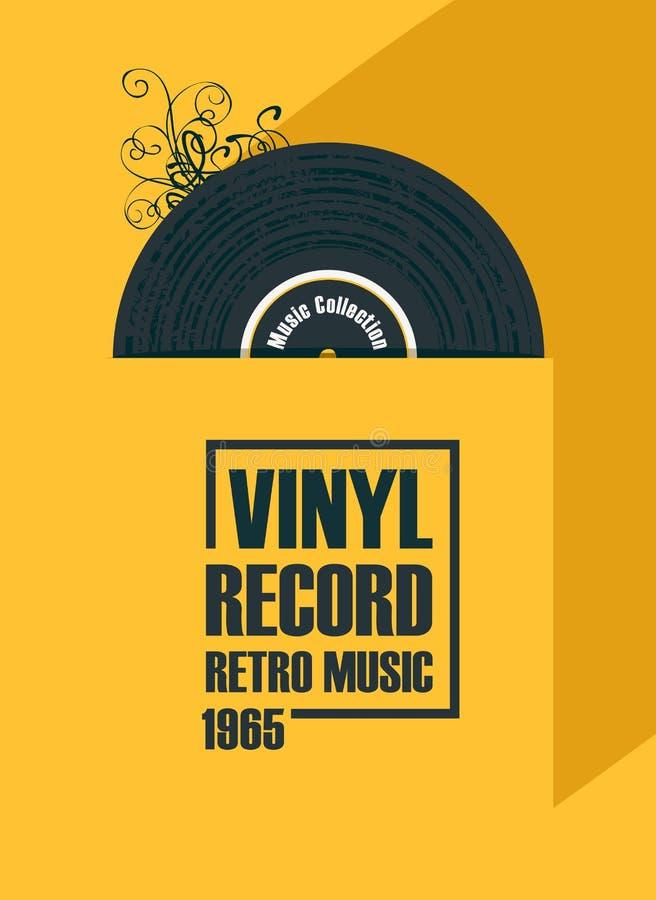 Cartel de la música con el disco de vinilo en estilo retro ilustración del vector