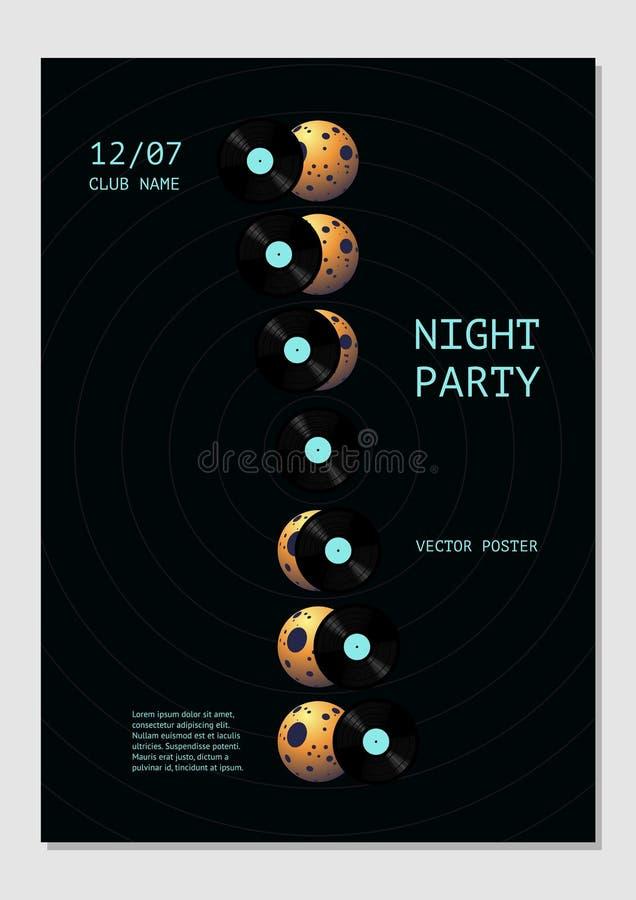 Cartel de la música con fases del disco de vinilo y de la luna Fondo del festival de la danza para el club nocturno Ejemplo del v stock de ilustración