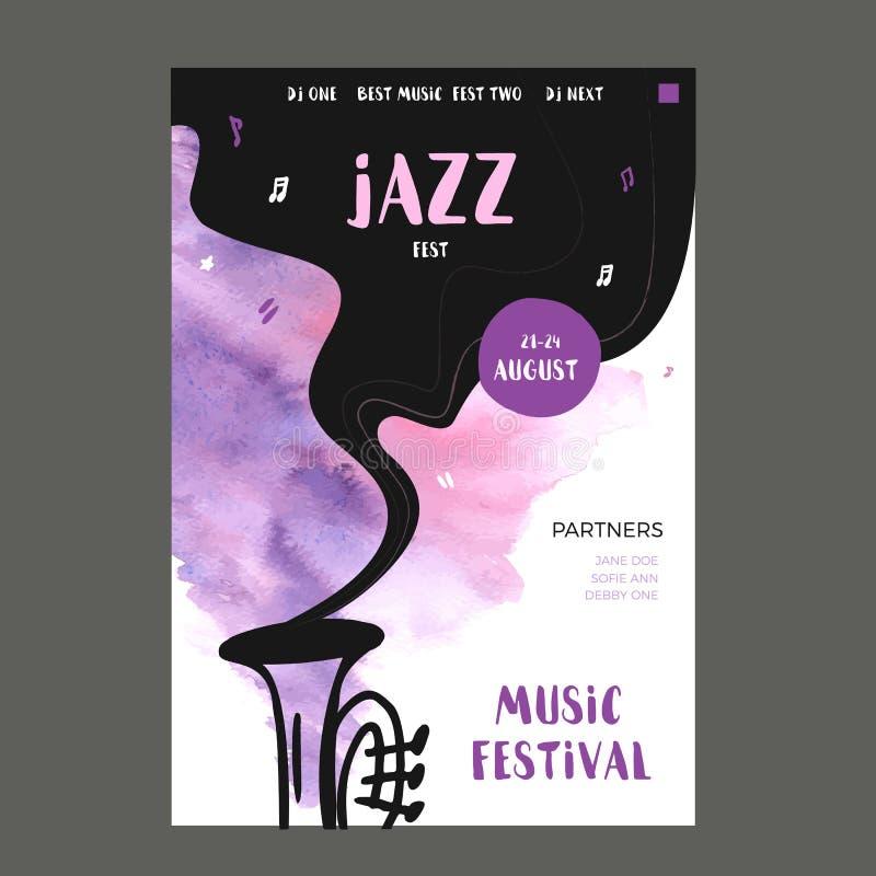 Cartel de la música de la impresión del vector con los iconos de la mancha y del garabato de la acuarela Fondo abstracto del jazz libre illustration