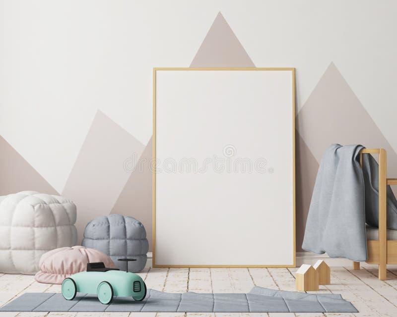 Cartel de la maqueta en el cuarto del ` s de los niños en colores en colores pastel Estilo escandinavo ilustración 3D stock de ilustración