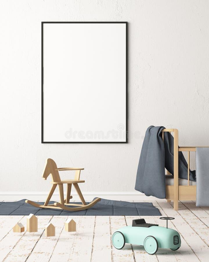Cartel de la maqueta en el cuarto del ` s de los niños en colores en colores pastel Estilo escandinavo ilustración 3D libre illustration