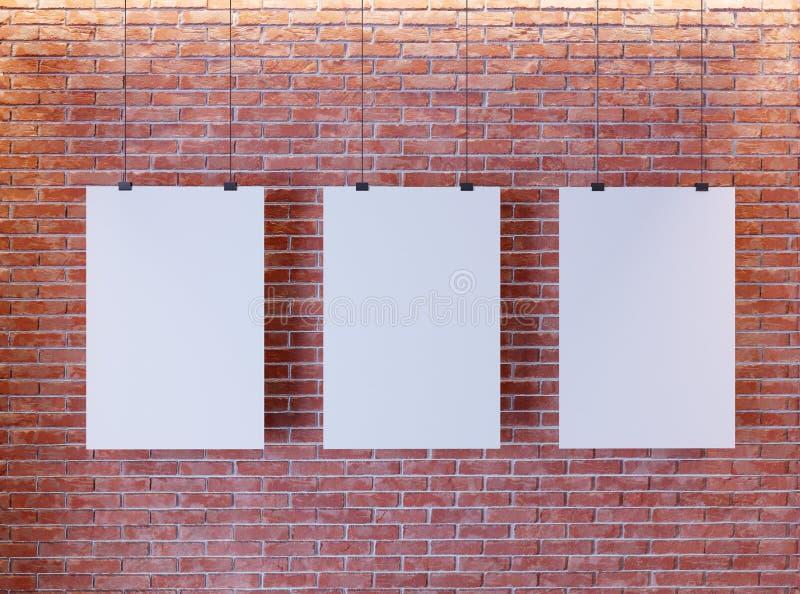 Cartel de la maqueta en interior del estilo del art déco 3d rinden Pared de ladrillo Ilustración libre illustration