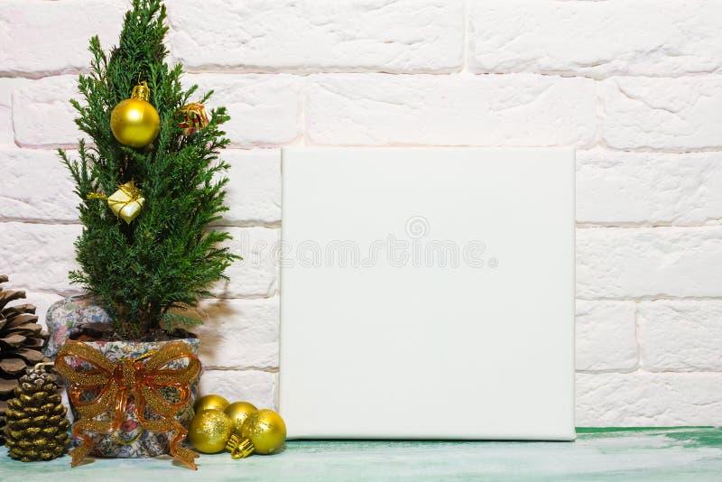 Cartel de la maqueta en interior de la Navidad imagenes de archivo