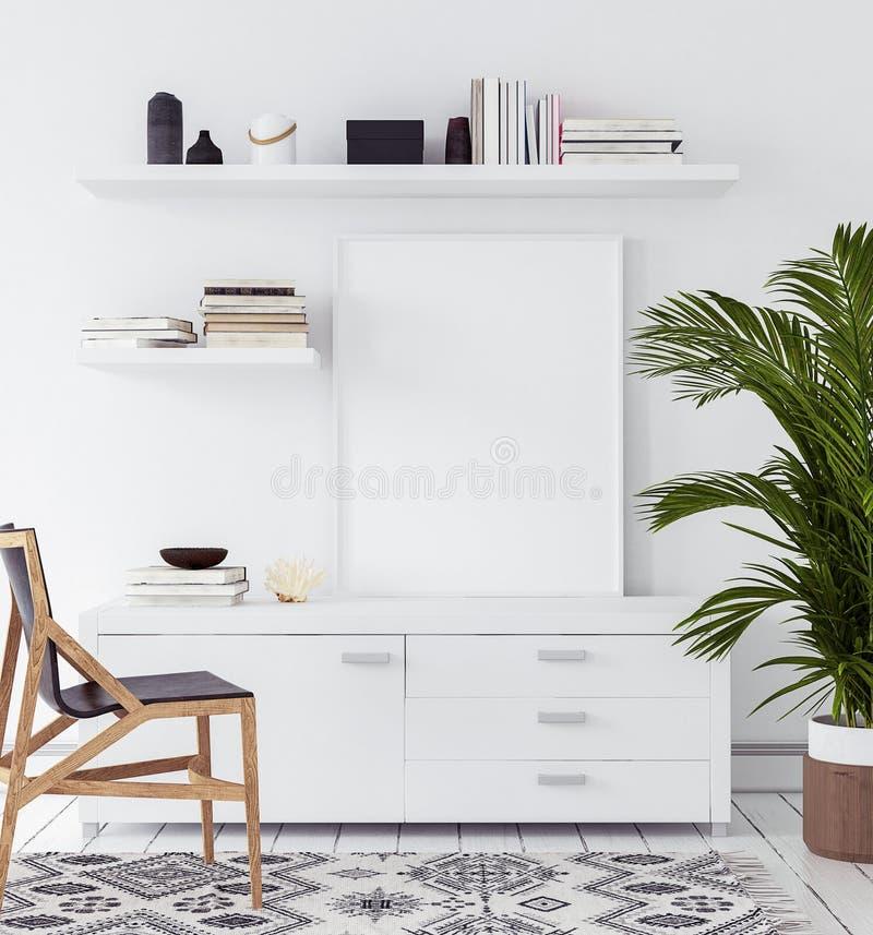 Cartel de la maqueta en la sala de estar, estilo escandinavo imágenes de archivo libres de regalías