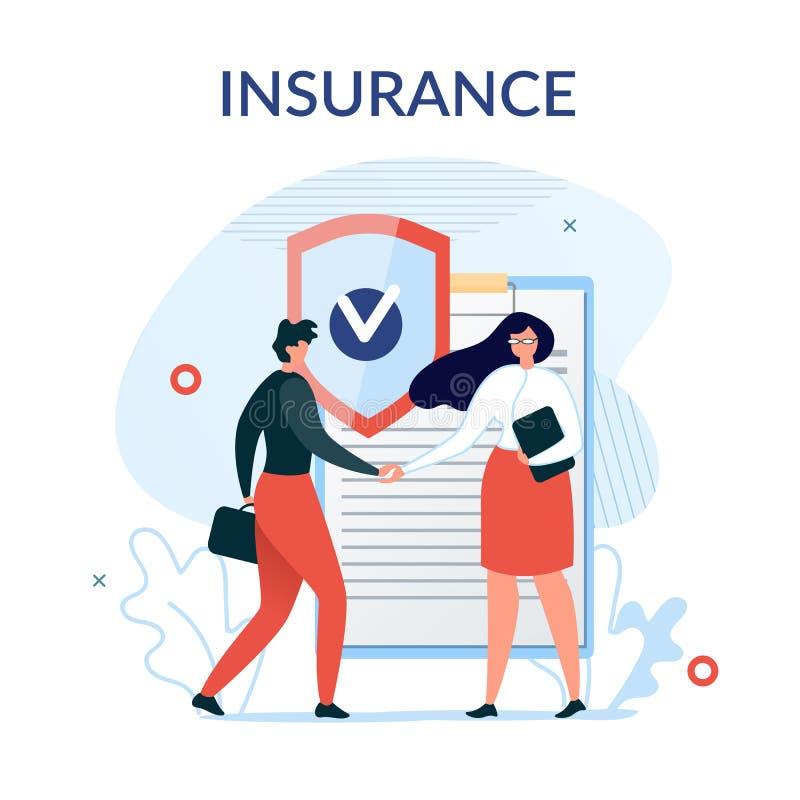 Cartel de la metáfora de la presentación de los servicios de seguro ilustración del vector