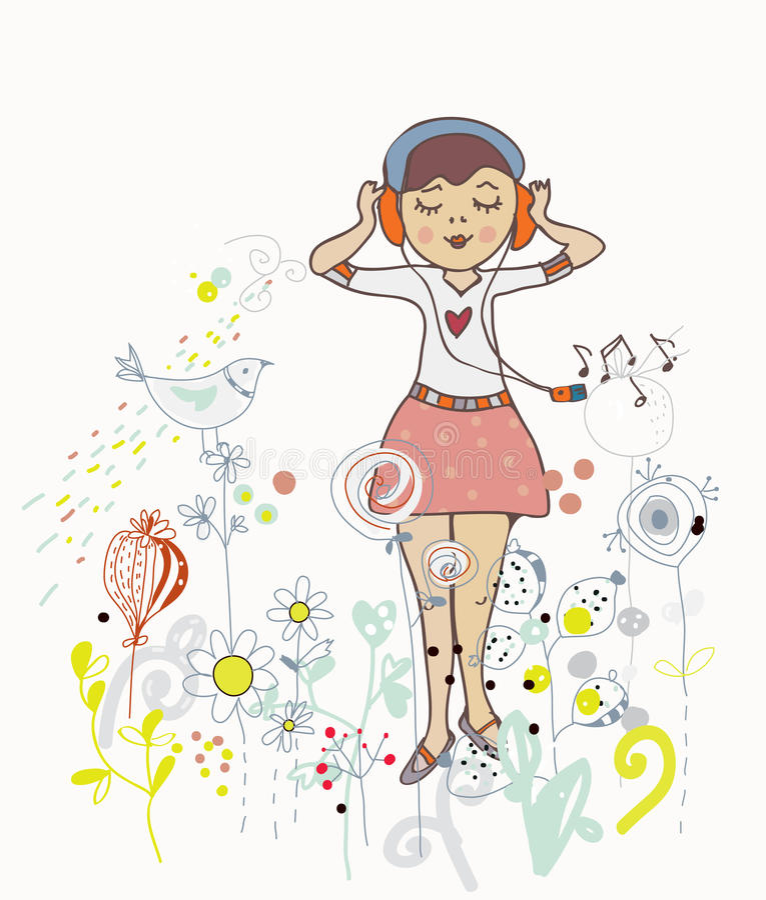 Cartel de la muchacha que escucha la música con las flores, pájaros stock de ilustración