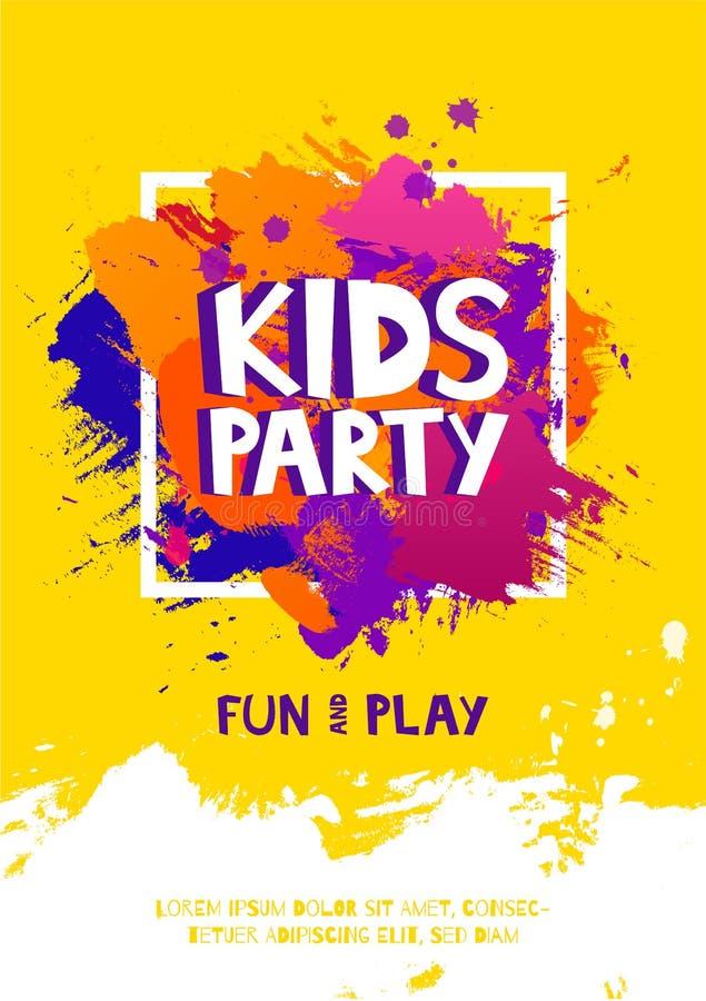 Cartel de la muestra de la letra del partido de los niños Las letras de la historieta y salpican en fondo colorido de la brocha d stock de ilustración