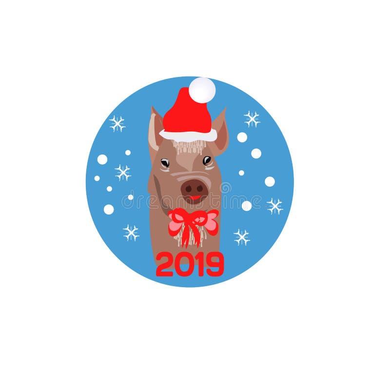 Cartel de la Navidad con imagen un retrato del cerdo en el sombrero de Papá Noel s y con el arco rojo Ilustración del vector stock de ilustración