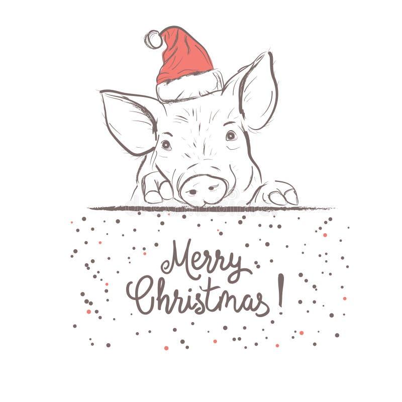 Cartel de la Navidad con imagen un retrato del cerdo en sombrero del ` s de Papá Noel ilustración del vector