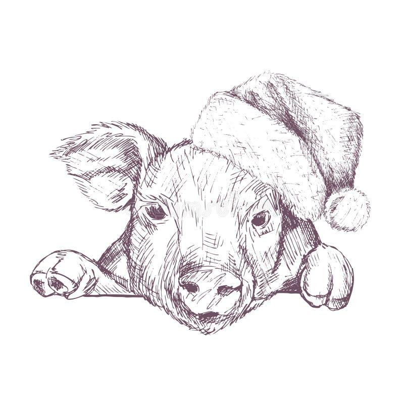 Cartel de la Navidad con imagen un retrato del cerdo en sombrero del ` s de Papá Noel Ilustración del vector ilustración del vector
