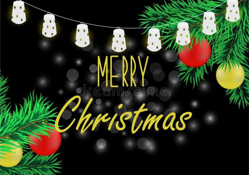 Cartel de la Navidad con la guirnalda libre illustration