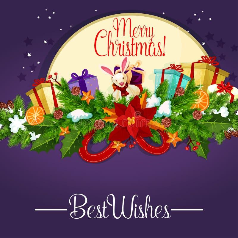Cartel de la Navidad con la guirnalda y el regalo de la baya del acebo ilustración del vector