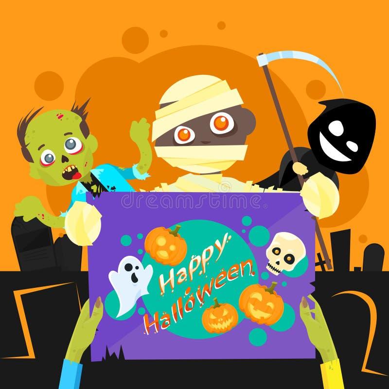 Cartel de la noche del zombi del partido del feliz Halloween ilustración del vector