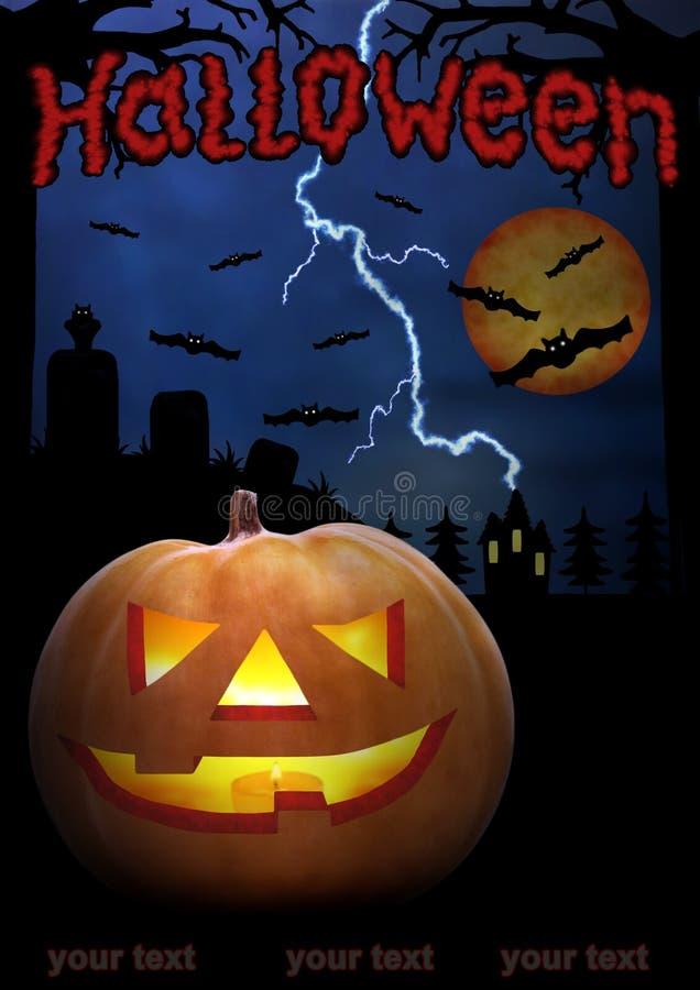 Cartel de la noche de Halloween con el texto rojo grande Cara asustadiza de la calabaza en la oscuridad Tono azul marino ¡Horror! libre illustration