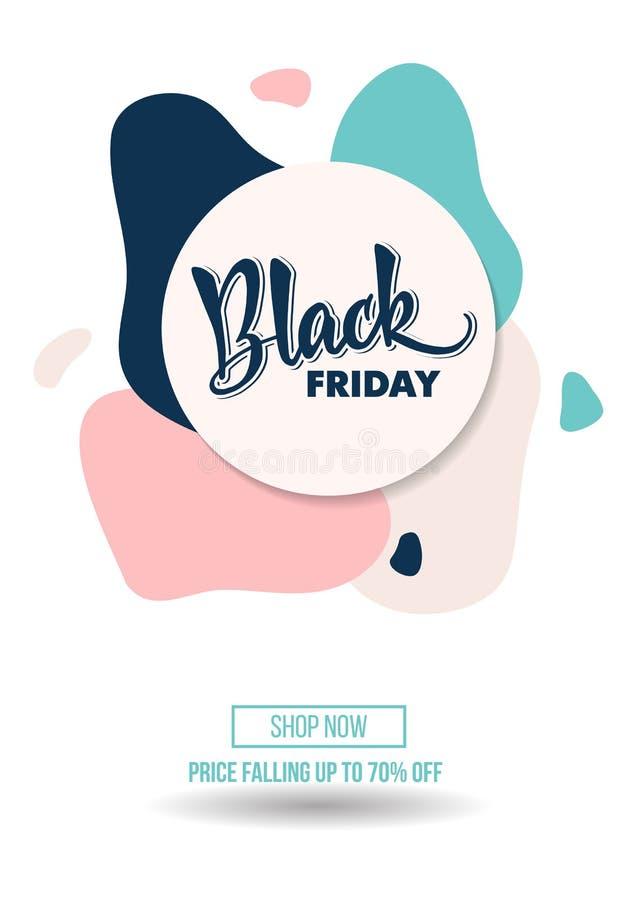 Cartel de la oferta del promo del descuento de la venta de Black Friday o mosca de la publicidad imágenes de archivo libres de regalías