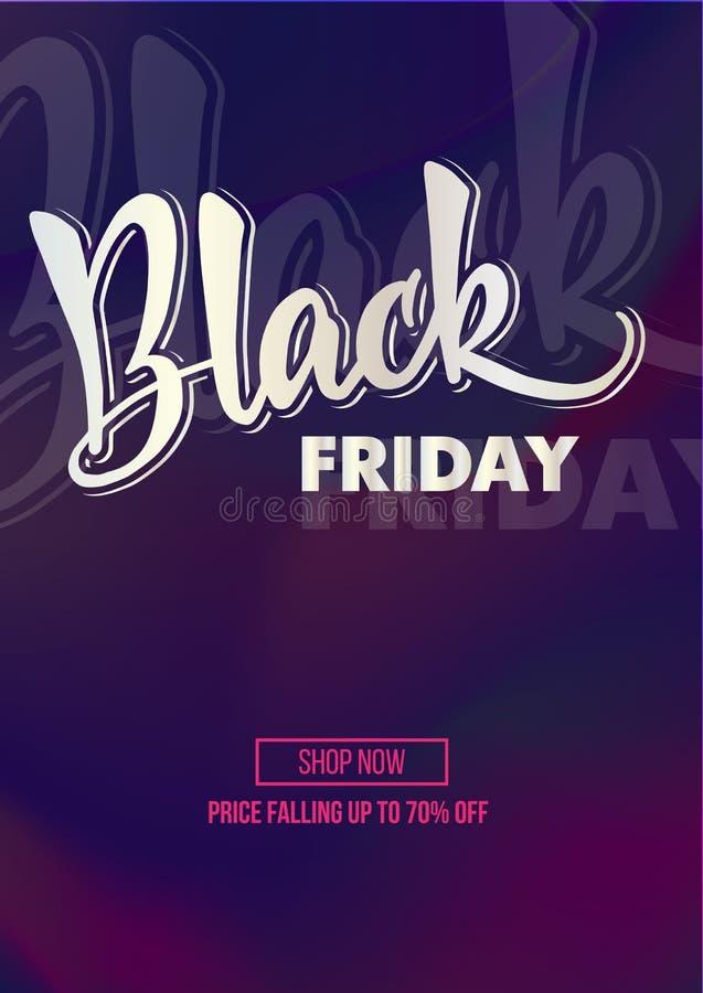 Cartel de la oferta del promo del descuento de la venta de Black Friday o mosca de la publicidad imagenes de archivo