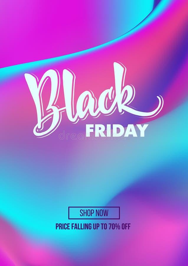 Cartel de la oferta del promo del descuento de la venta de Black Friday o mosca de la publicidad foto de archivo libre de regalías