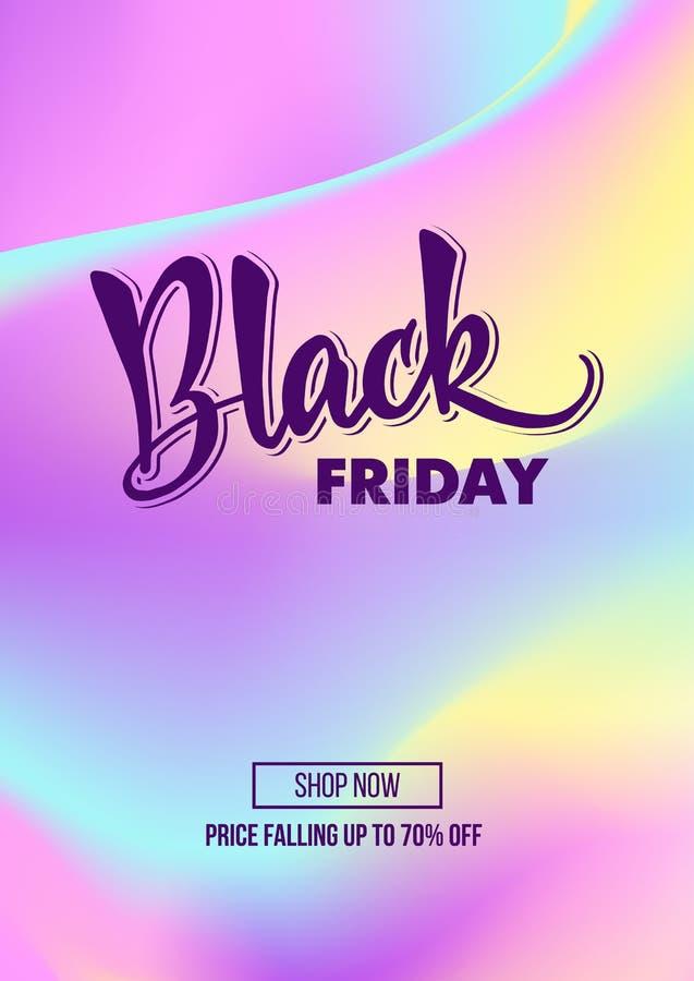 Cartel de la oferta del promo del descuento de la venta de Black Friday o mosca de la publicidad fotografía de archivo libre de regalías