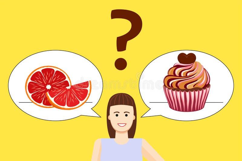 Cartel de la opción de la dieta de la muchacha stock de ilustración