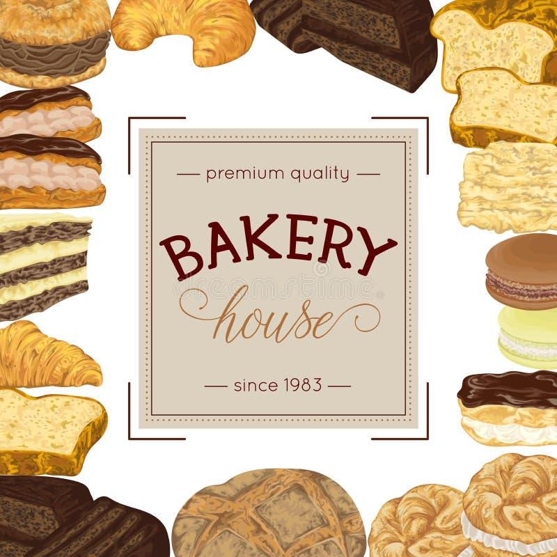 Cartel de la panadería con la colección del pan y de los pasteles ilustración del vector