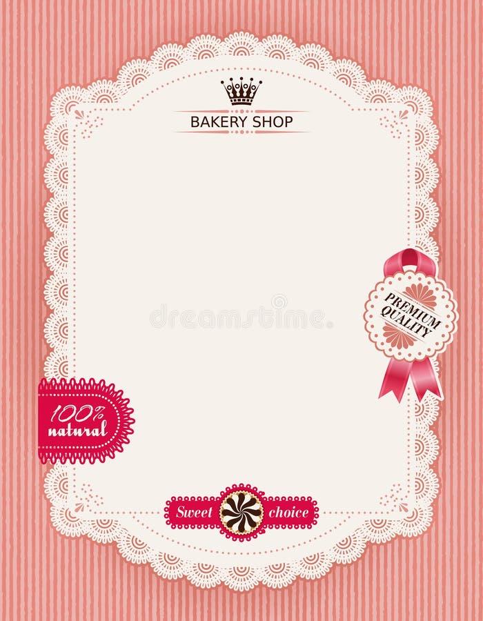 Cartel de la panadería de la confitería con el marco de encaje libre illustration