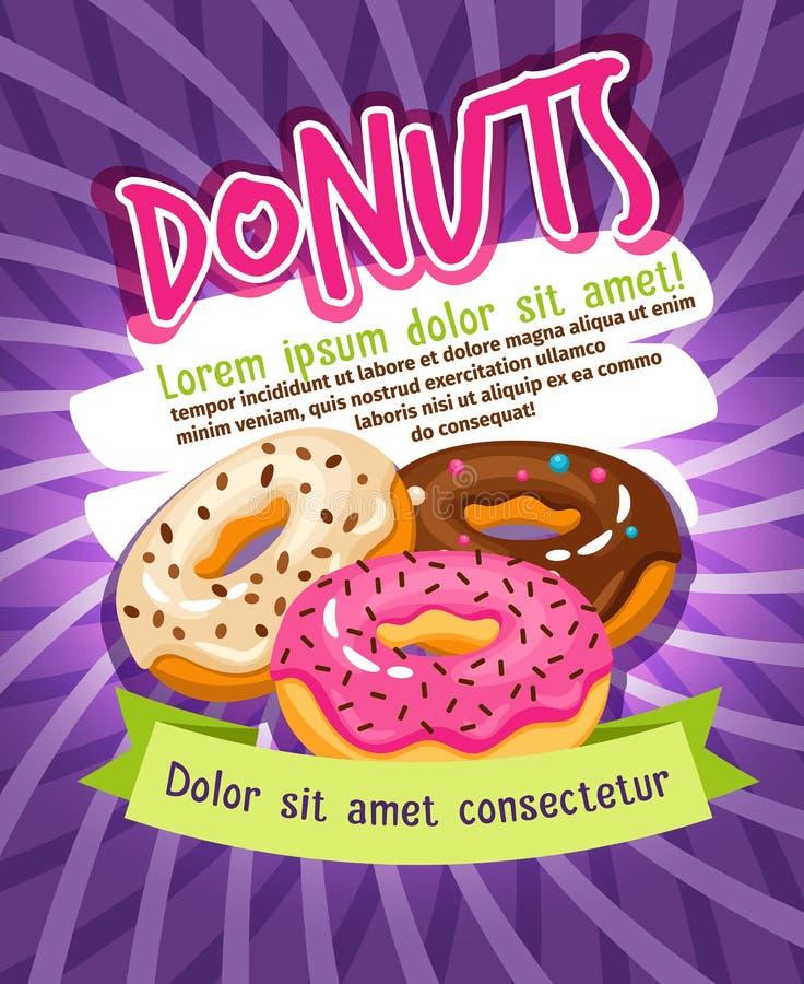 Cartel de la panadería del buñuelo esmaltado del chocolate y del azúcar Vector de la publicidad de la comida de los anillos de es ilustración del vector