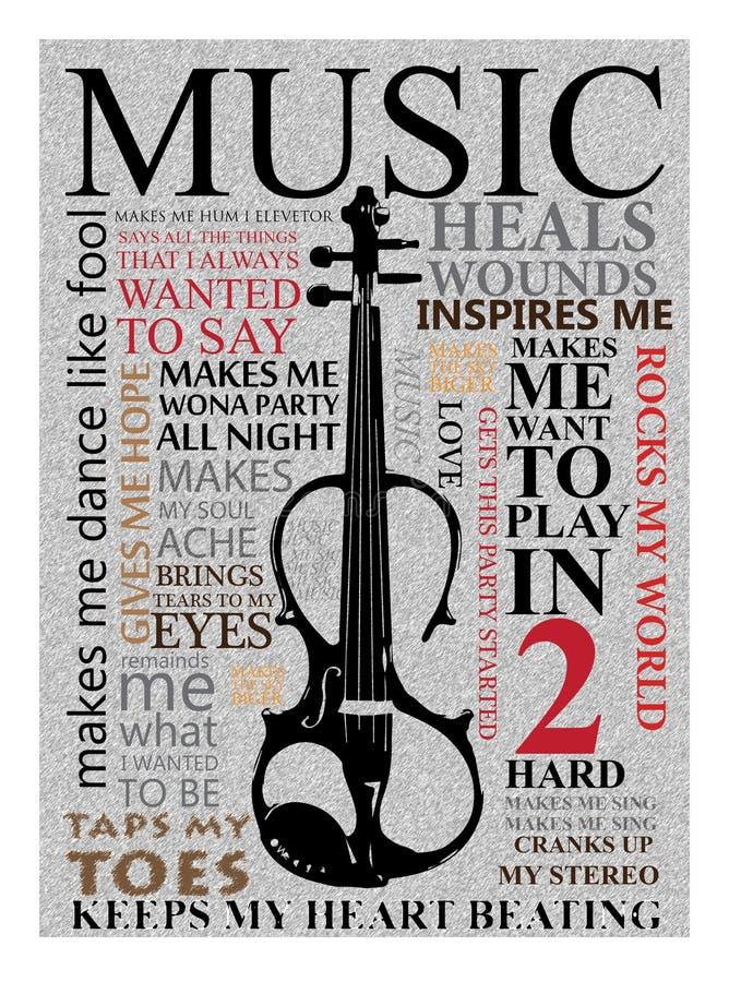 Cartel de la pared para la música ilustración del vector