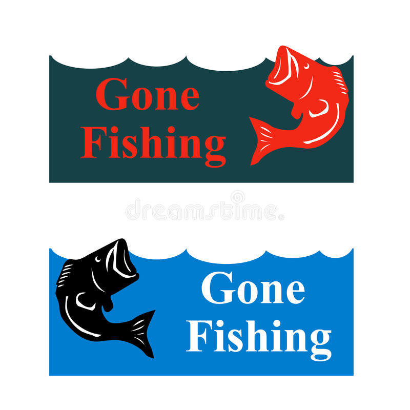 Cartel de la pesca con el bajo de salto en el ejemplo de la onda stock de ilustración
