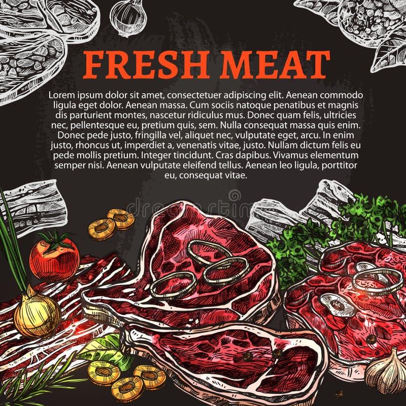 Cartel de la pizarra de la carne fresca, diseño de la carnicería ilustración del vector