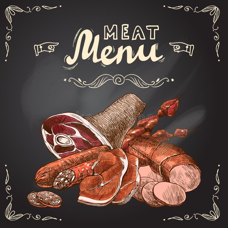 Cartel de la pizarra de la carne ilustración del vector