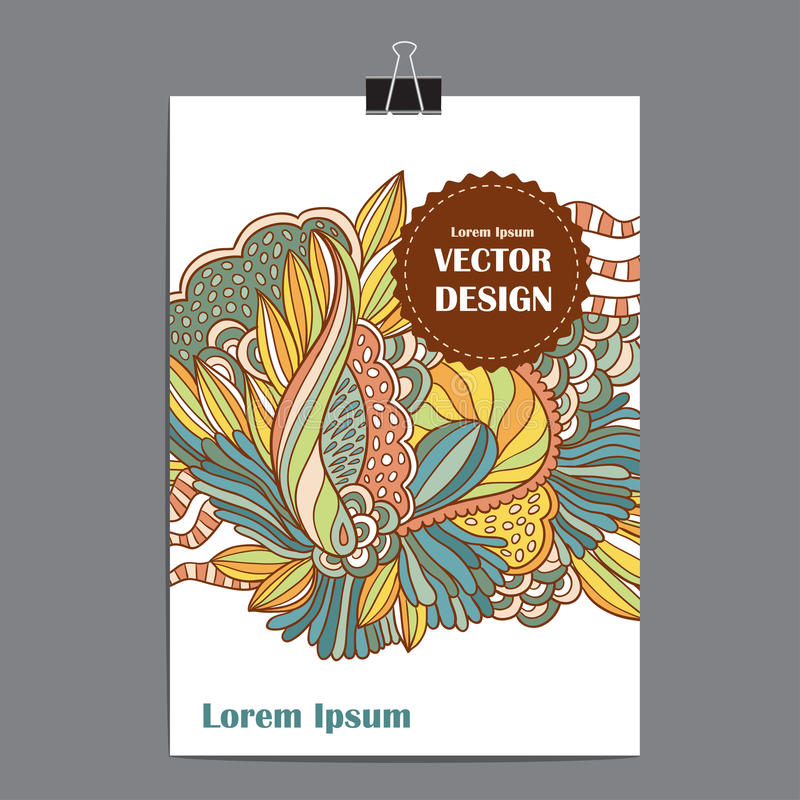 Cartel de la plantilla del vector con el fondo floral abstracto stock de ilustración