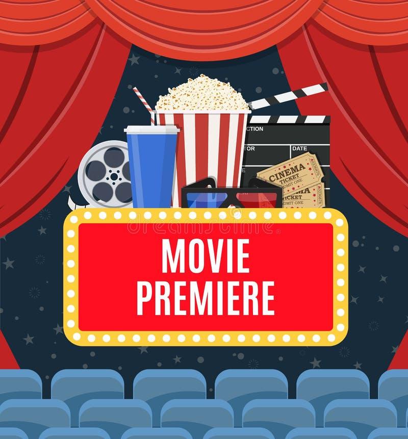 Cartel de la premier de la película stock de ilustración