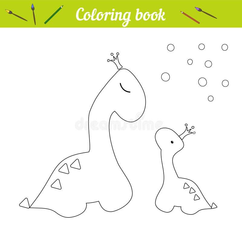 Cartel de la princesa de Dino de la página que colorea Drenaje del esquema de la historieta Juego educativo para los ni?os Dos di stock de ilustración