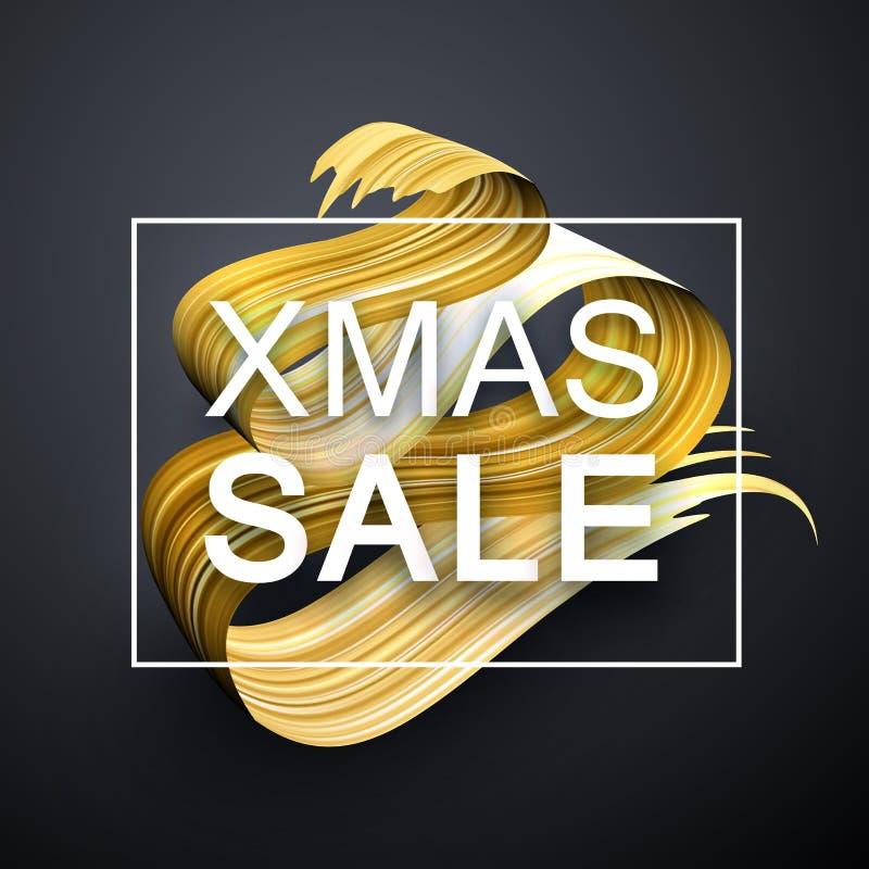 Cartel de la promoción de venta de Navidad de la Navidad con el st abstracto del cepillo del oro ilustración del vector