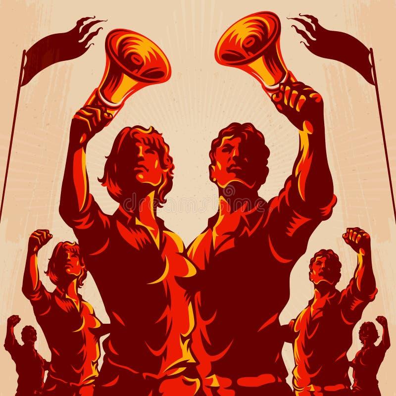 Cartel de la propaganda del puño de la protesta de la muchedumbre ilustración del vector