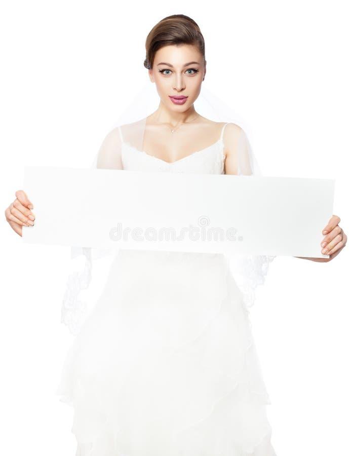 Cartel de la publicidad de la tenencia de la novia. imágenes de archivo libres de regalías
