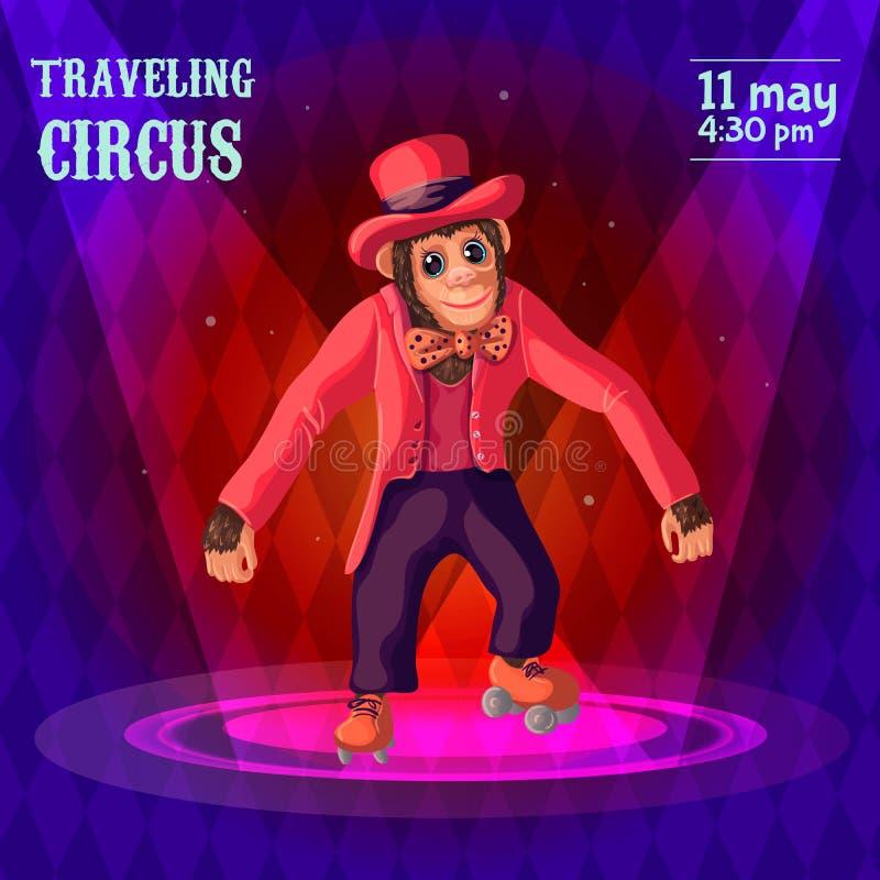Cartel de la publicidad del circo que viaja ilustración del vector